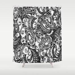 paisley batik black Shower Curtain