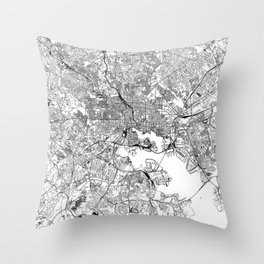 Baltimore White Map Throw Pillow