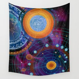 MOON AND PLANETS Wall Tapestry