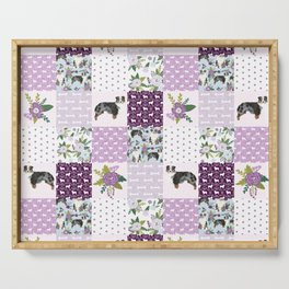 Australian Shepherd Patchwork - purple floral, flowers, dog, dogs, aussie dog, cute dogs, dog blanke Serving Tray