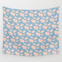 pigs Wall Tapestries featuring Paper Pigs (Patterns Please Series #3) by Lalaine Lim