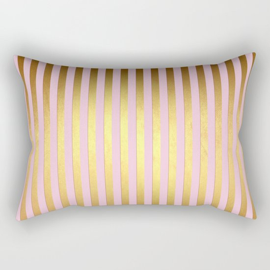 Striped- Pink and gold luxury stripes design Rectangular Pillow