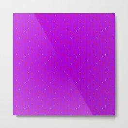 Christmas Baubles on Festive Tinsel Streamers Purple Metal Print
