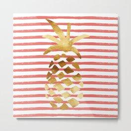 Pineapple Stripes - Coral Metal Print