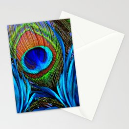 ABSTRACT DECORATIVE BLUE PEACOCK FEATHER ART Stationery Cards