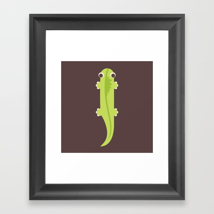 Letter I // Animal Alphabet // Iguana Monogram Framed Art Print