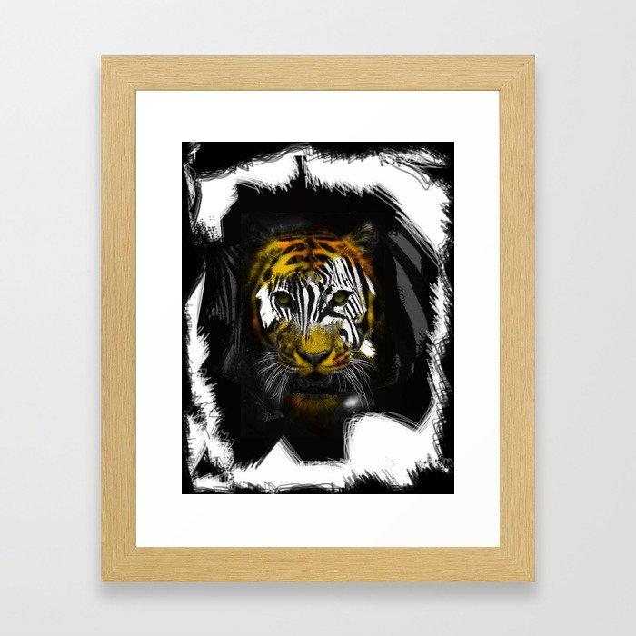 """Zebra Vs Tiger """"Zeger"""" Framed Art Print"""