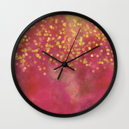 Golden Sparkles on Red Wall Clock
