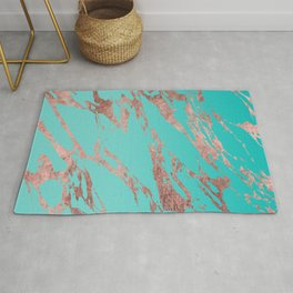 Modern Chic Rose Gold Blue Marble Rug