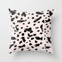 Abstract black pastel pink watercolor paint brushstrokes Throw Pillow