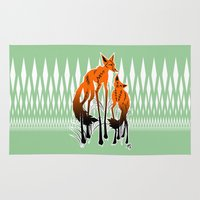 foxes Area & Throw Rugs featuring Foxes by AmKiLi