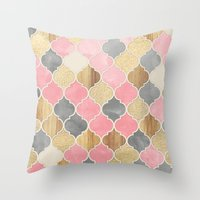 bedding Throw Pillows featuring Silver Grey, Soft Pink, Wood & Gold Moroccan Pattern by micklyn