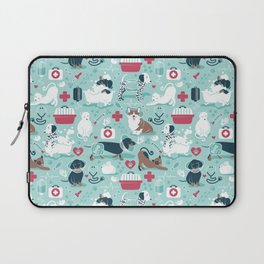 Veterinary medicine, happy and healthy friends // aqua background Laptop Sleeve