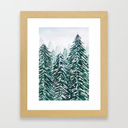snowy pine forest in green Framed Art Print