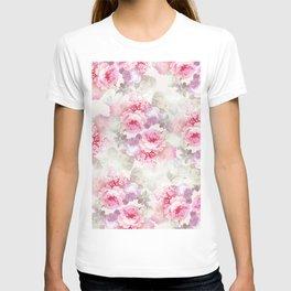 Elegant blush pink lavender ivory romantic roses floral T-shirt