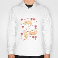 orange pattern Hoodies featuring Orange Cat Pattern by Judith Loske
