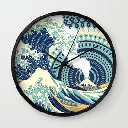 The Great Wave Eruption And Kaleidoscope Bacground Wall Clock