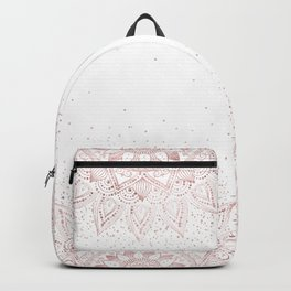 Elegant rose gold mandala confetti design Backpack