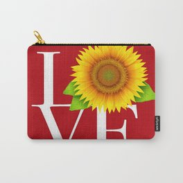 Love block white letters on red with sunflower art print, pillow, curtain, shower curtain, wall decor Carry-All Pouch
