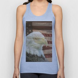 Rustic Bald Eagle on American Flag A213 Unisex Tank Top