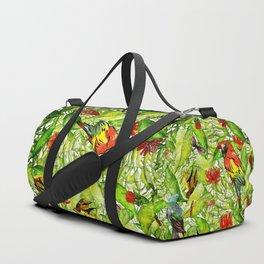 My tropical Summer Flowers and Birds Garden - Jungle Pattern Duffle Bag