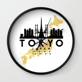 TOKYO JAPAN SILHOUETTE SKYLINE MAP ART Wall Clock