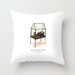 the wandering Eye in a wagon Throw Pillow
