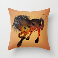 horse Throw Pillows featuring Horse by nicky2342