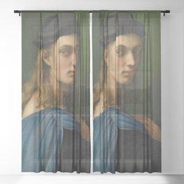 """Raffaello Sanzio da Urbino """"Portrait of Bindo Altoviti"""", c 1514 Sheer Curtain"""