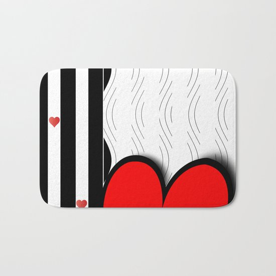 Black and white meets red Version 21 Bath Mat