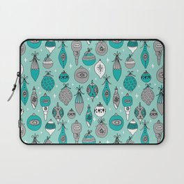 Ornaments christmas vintage classic turquoise and white hand drawn christmas tree ornament pattern Laptop Sleeve