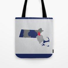 Massachusetts State Map Print Tote Bag