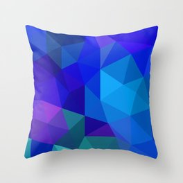 Sapphire Low Poly Throw Pillow