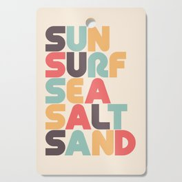 Retro Sun Surf Sea Salt Sand Typography Cutting Board