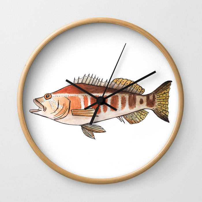 Blacktail Comber: Fish of Portugal Wall Clock