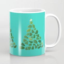 Green Sea Glass Tree on Turquoise #seaglass #Christmas Coffee Mug