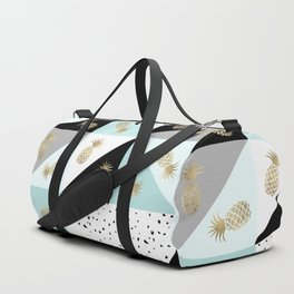 Pastel color block watercolor dots faux gold pineapple Duffle Bag