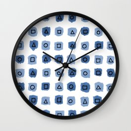 Abstract geometrical blue pattern Wall Clock