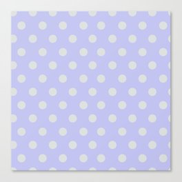 Blue Ultra Soft Lavender Thalertupfen White Pōlka Large Round Dots Pattern Canvas Print