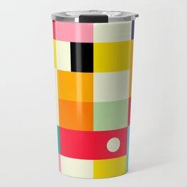 Geometric Bauhaus Pattern | Retro Arcade Video Game | Abstract Shapes Travel Mug