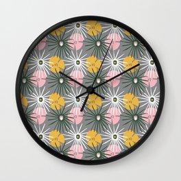 Tropical Foliage Pattern on Gray Wall Clock
