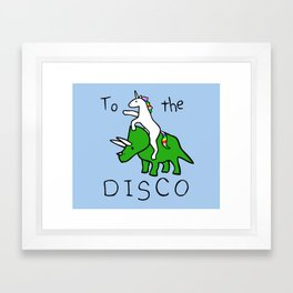 To The Disco (Unicorn Riding Triceratops) Framed Art Print