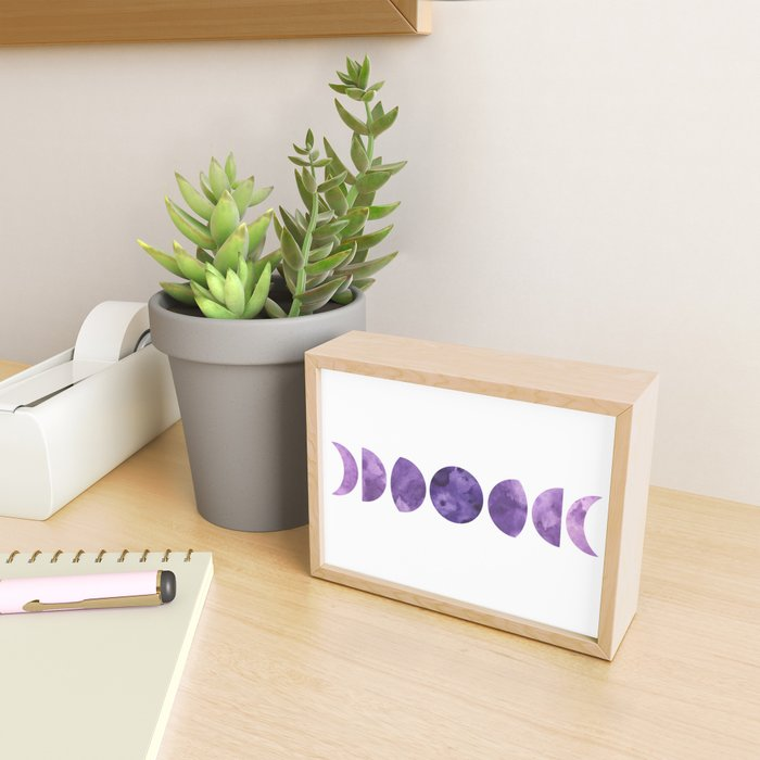 Lunar Phases in Violet Framed Mini Art Print