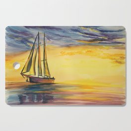 beach sunset watercolor painting, sailboat on the ocean Cutting Board