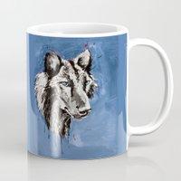 valentina Mugs featuring Black Wolf - Animal Art by Valentina Miletic by Valentina Miletic Art