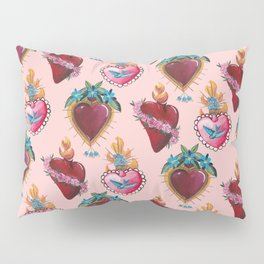 Sacred Hearts on pink  Pillow Sham