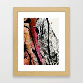 Motivation [2] : a colorful, vibrant abstract piece in pink red, gold, black and white Framed Art Print