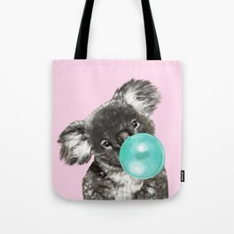 Playful Koala Bear with Bubble Gum in Pink Tote Bag