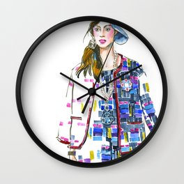 fashion #60: Woman in a suit with geometric pattern Wall Clock