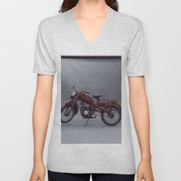 Old motorcycle photography, old motorbike, man cave sign, garage wall art Unisex V-Neck